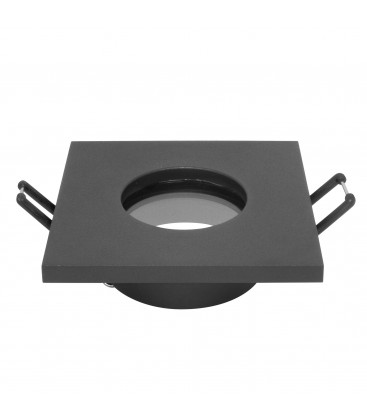 Support d'encastrement GU10 / MR16 Étanche IP65 - Carré - Noir mat