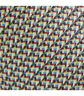 Fil électrique tressé - 2x0.75mm2 - Sur mesure - Bleu-Vert fantaisie