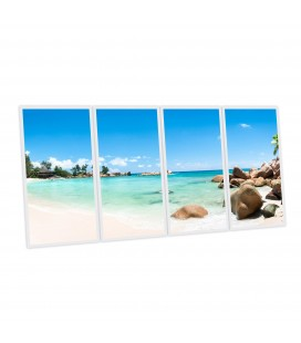 Pack 4 dalles LED imprimées - Plage des Seychelles - 1200x600 mm (alimentations non fournies)