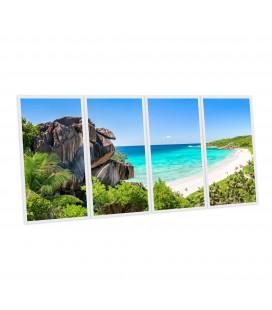 Pack 4 dalles LED imprimées - Falaise des Seychelles - 1200x600 mm (alimentations non fournies)