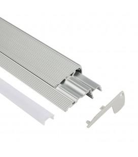 Profilé LED d'escalier / nez de marche - Série S60 - 1,5 mètre - Aluminim - Diffuseur opaque