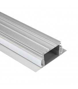 Profilé LED Direct/Indirect - Série T76 - 1,5 mètre - Aluminium - Diffuseur opaque