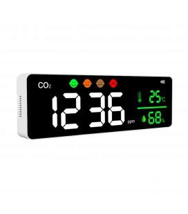 Détecteur et afficheur mural de CO2 (dioxyde de carbone) sur batterie - DeliTech®