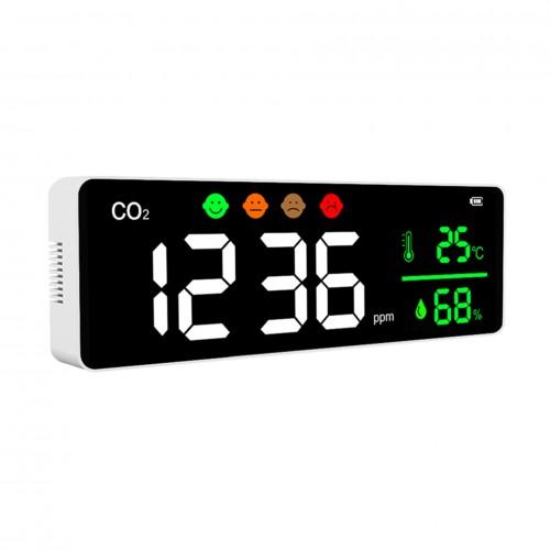 Détecteur et afficheur mural de C02 (dioxyde de carbone) sur batterie - DeliTech®