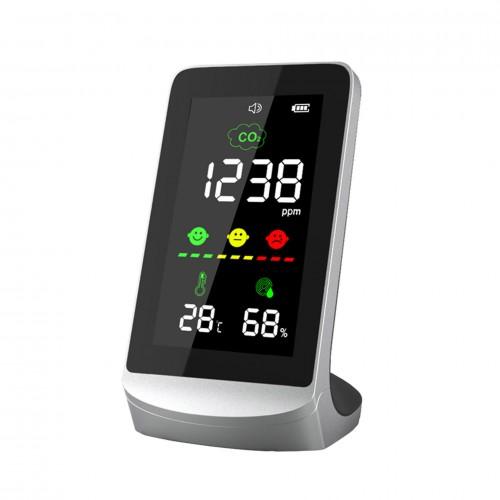 Détecteur et afficheur de C02 (dioxyde de carbone) de bureau et sur batterie - DeliTech®