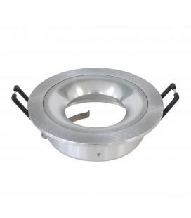 Support d'encastrement GU10 / MR16 - CURVE - Rond - Aluminium brossé