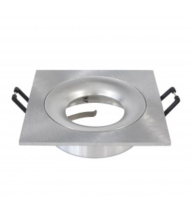 Support d'encastrement GU10 / MR16 - CURVE - Carré - Aluminium brossé