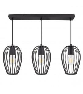 Trio de lampes suspendues Ether - Noir - Culot E27 - DeliTech®
