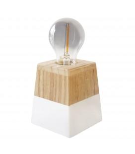Lampe à poser Atlas - Pied carré - Bois - Culot E27 - DeliTech®