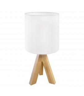 Lampe à poser Orion - Bois - Abat-jour blanc - Culot E27 - DeliTech®