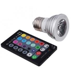 Ampoule LED E27 - 4W - HP Bridgelux - PAR16 - RGB (IR)