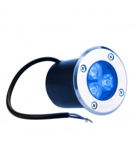 Spot Encastrable de sol LED - 3X1W - Bridgelux - 220V - Bleu