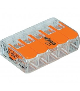 Borne wago 221 mini 5x4mm2 à levier (boîte de 25 pièces)