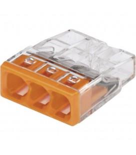 Borne wago 2273 - 3 x 0,5 à 2,5mm2 Transparent / Orange (boîte de 100 pièces)