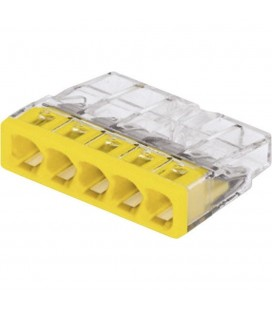 Borne wago 2273 - 5 x 0,5 à 2,5mm2 Transparent / Jaune (boîte de 100 pièces)