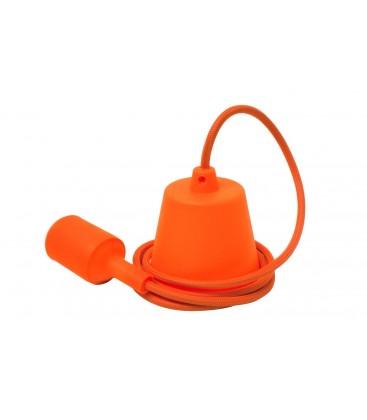 Suspension E27 - Câble textile Déco Orange