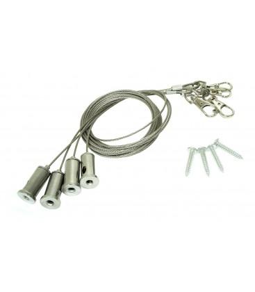 Kit Câbles Suspensions Dalle LED avec Crochets - 4 pieces