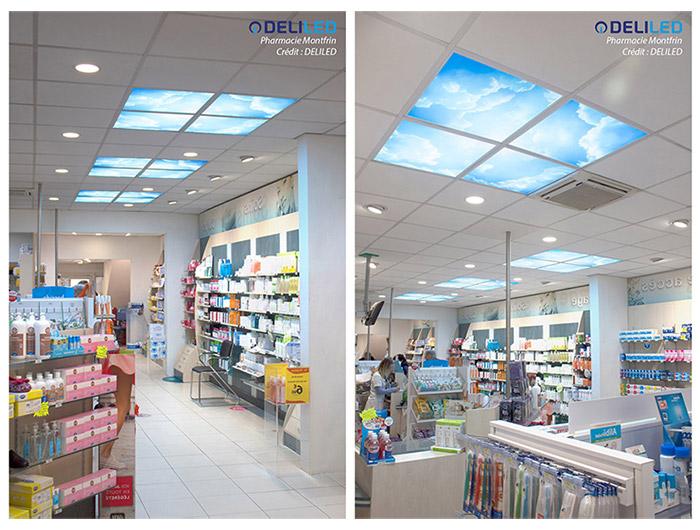 Dalles LED personnalisées avec des motifs nuages, pour la Pharmacie Montfrin.