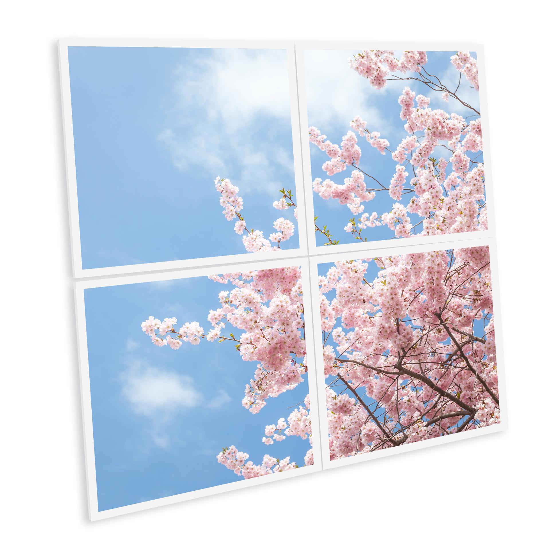 ciel lumineux en dalle led imprimée fleurs cerisiers