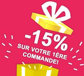Promotion de bienvenue : 15% de remise immédiate sur votre commande !