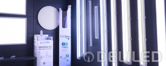 DELILED adhére aux services Tubibox® et Lumibox® de Récylum et recycle les sources d'éclairages usagées.